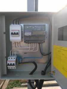 щит учета, подключение электричества, установка трубостойки